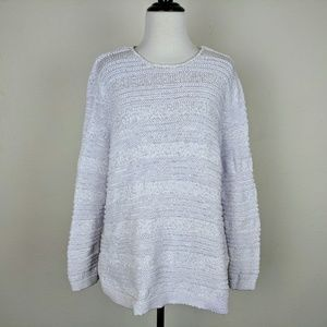 Dana Buchman Shimmer White Textured Knit Sweater